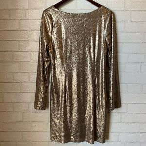 Kardashian Kollection Gold Sequin Dress Lg